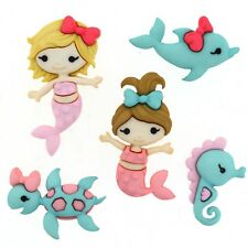 Childrens Buttons - Mermaid Kisses - Novelty Buttons Cake Decorations Girls