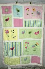 "Pottery Barn Kids Quilt Pink 50"" X 36"" Toddler Bed Crib Size Birds Flowers"