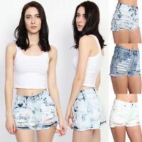 TheMogan Vintage Distressed Washed Denim High Waisted Cutoff Jean Shorts