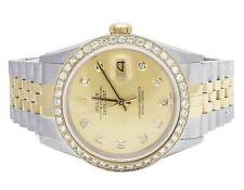 Rolex 18K/Steel Datejust Two Tone 36MM 16013 Champagne Dial Diamond Watch 2.5 Ct