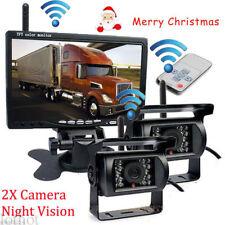 "Dual Wireless Weatherproof Backup Camera & 7"" Monitor for Bus,Truck, Trailer Van"