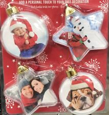 NEW CHRISTMAS BAUBLES WITH PHOTO INSERT CREATE YOUR OWN PHOTO 2x STAR 2x BALL