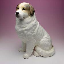 """11""""H Great Pyrenees Badger Brown Marks Porcelain Dog Figurine Japan New"""