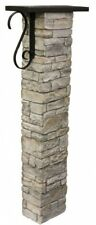 Mailbox Post Kit Decorative Scroll Lightweight Stacked Cast Stone Gray