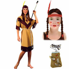 Native American Indian Woman Costume with Wig and Pouch