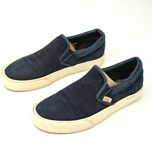 Van's Slip On Leather Shoes Mens Size 6 M / Women's 7.5 M Blue Loafers