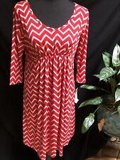 Maternity Dress by Three Seasons Womens Size Small S Red/Khaki Tunic Stretch NEW