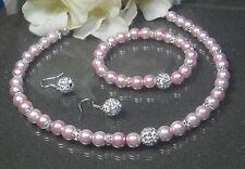 ***Traumhaftes*** 3tlg. Perlen Schmuckset  rosa 43cm Straß Perle Ohrhaken 925er