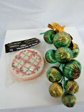 Vintage 1950s Christmas Balls Gold Foil Leaf Coasters Holiday Mid Century Retro