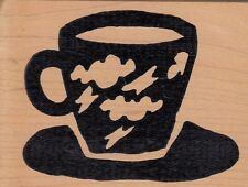"""cloud cup hot potatoes Wood Mounted Rubber Stamp  2 1/2x 3""""  Free Shipping"""