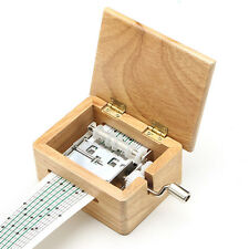 Hand Crank Music Box Wooden Box DIY With Hole Puncher And Paper Tapes Xmas Gift
