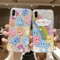 Cartoon Cute Rainbow bear Phone Case For iPhone 8 7 6 X XS 11 Anime cares bears