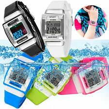 LED Water/Shock Resistant Date/Alarm Sports Watch For Kids Boy Girl Teenagers