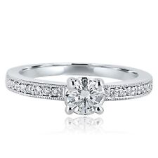 0.68 Carat Round Cut Diamond Solitaire Engagement Ring 18k White Gold