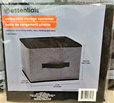 "Essentials Collapsible Storage Container/Bin/Box w. Handle-Gray/Black-10"" x 11"""