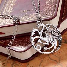 Argent Ancien Collier Pendentif Game of Thrones Dragon Targaryen Chaîne Bijoux