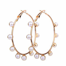 New Big Golden Circle Imitation Pearl Round Hoop Earrings For Women Jewelry Gift