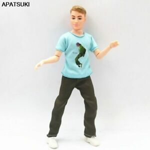 Blue T-shirt Trousers Pant 1/6 Boy Doll Clothes For Ken Doll Outfit For Ken Doll