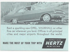 1960s HERTZ RENT-A-CAR SAS CURRENCY CONVERTER CARD - OPEL VAUXHALL AUTO PICTURED