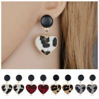 Fashion Women Alloy Leopard Love Heart Stud Dangle Geometric Earrings Jewelry
