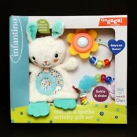 Infantino Cuddle & Teethe Activity Set Baby's 1st Easter Bunny Shake Rattle New