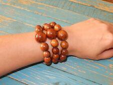 Handmade 3 pieces Wooden Brown Bead Bracelet, Woman's Wood Bead Bracelet 3-in-1