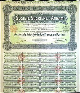 Société Sucrière d'ANNAM 1929, Indochine, action de priorité au porteur 049911