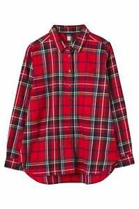 Joules Lorena Longline Brushed Shirt - Red Check