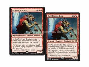 2x Krenko, Mob Boss (Speed vs. Cunning), Rare + 5x Goblin Tokens, MTG Magic