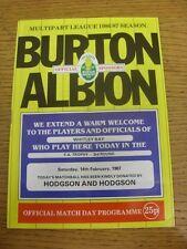 14/02/1987 Burton Albion v Whitley Bay [FA Trophy] (folded, team changes). Unles