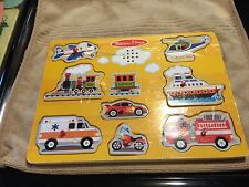 Melissa & Doug Vehicles Sound Puzzle Two AAA Batteries included Lot#0198