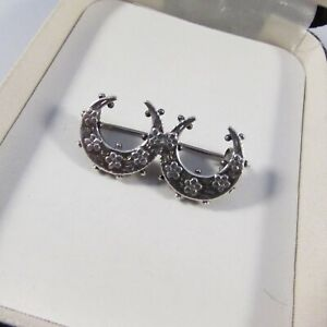 Vintage Victorian Hallmarked Sterling Silver Double Crescent Sweetheart Brooch