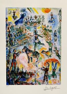 """Marc Chagall CIRCUS GRAND Limited Edition Facsimile Signed Giclee Art 16"""" x 11"""""""