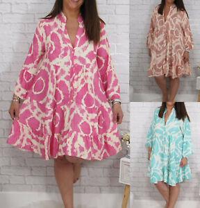 Ladies Summer Smock Swing Dress Womens Tie Dye Casual Loose Shirt Beach Sundress
