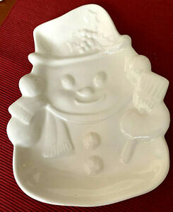 Ceramic Snowman Creamy White Serving Dish/Tray for Candy/Nuts/Appetizers/Cookies