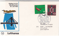 Lufthansa Erstflug LH 074 Nurnberg Koln 1965 air mail flight stamps cover 19772