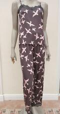 Next - Grey / Pink Bird Pattern Supersoft Jersey Strappy Pyjamas - size 10