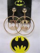 VTG 1964 Batman Large Gold Hoop Dangle Earrings & Batman Logo Pin TM & DC Comics