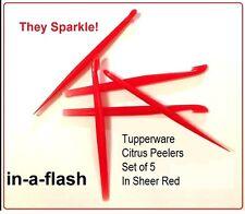 TUPPERWARE New CITRUS PEELER Lot of 5 peelers LIMES LEMONS ORANGES in Sheer Red