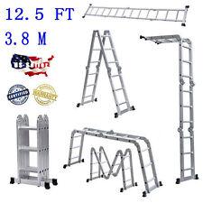 Hot 12.5FT Multi Purpose Aluminum Folding Step Ladder Scaffold Extendable Silver