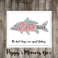 Fishing Personalised Word Art Print Birthday Father's Day Dad Gift, Card, Frame