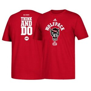 """NC State Wolfpack NCAA Adidas """"Think and Do"""" Men's Red T-Shirt"""