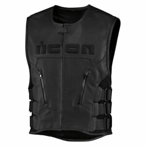 2019 Icon Mens Regulator Leather Motorcycle Vest D30 Relaxed Fit - Pick Size