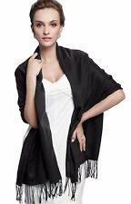 Quality 1.8m Long Black Pashmina Soft Scarf Shawl, Unisex Birthday Gift
