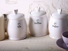 Charm White Tea Coffee Sugar Jars Kitchen Side Storage Canisters Serve Heart Lid