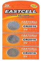 3 x CR2016 3V Lithium Knopfzelle 75 mAh ( 1 Blistercard a 3 Batterien ) EASTCELL
