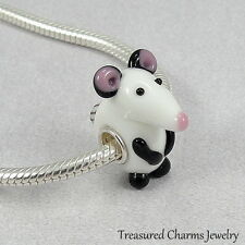 Mouse Lampwork Glass Large Hole Bead Charm fits European Bracelets