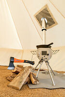Silver-Gem Portable Woodburner Bell tent stove ultra lightweight outdoors patio