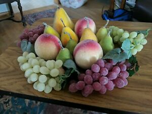 Lot 14 Artificial Beaded Fake Faux Fruit Sugared Pears, Peaches and Grapes.