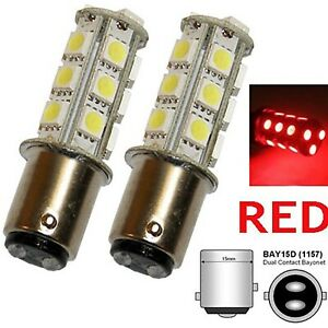 #1157 Red 18 SMD LED 12V Tail Light Rear Brake Stop Turn Signal Lamp Bulbs PAIR